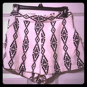 Aztec printed linen shorts with pockets & elastic
